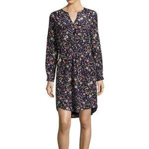 Rebecca Taylor Silk Floral Split Neck Tunic Dress